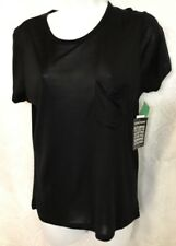 Saint Laurent Top Black Short Sleeve Silk Knit Pocket T Side XS NWT  $590