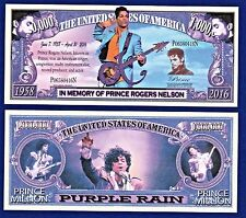 1-Prince Rogers Nelson-Dollar Bill-Purple Rain -Music Novelty  Fun Money  Z1