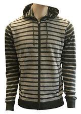 Mens Jumper WoolCotton Blend Stripe Full Zip Hoody Jumper/Sweater Free Delivery