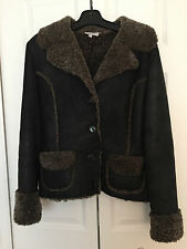 JILL STUART Designer GENUINE BLACK SHEEPSKIN SHEARLING Coat/Jacket W-Medium