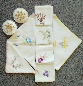 7 Vintage Embroidered Cotton Lace Handkerchiefs