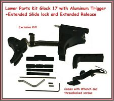 Lower Parts Kit Glock 17 BILLET Aluminum Trigger+Extended Slide lock/Release