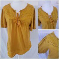 Falmer Heritage Mustard Womens Boho Top Blouse Tee T-shirt Tassle Tie 14 Autumn
