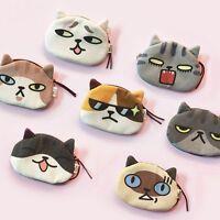 Wallet Bag Zipper Women Cute Pouch Gift Case Coin 3D Animal Cat Face Purse