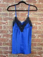 Victorias Secret sz L Nightgown Lingerie Satin Blue Sleepdress Lace Slip