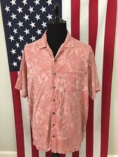 Island Shores 100% Silk Salmon Hibiscus Hawaiian Shirt men's 2XL xxl floral 9095