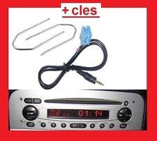adaptateur cable mp3 3.5mm autoradio jack ALFA ROMEO 147 DE 2002 + 2 clés key