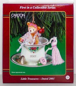 Little Treasures NEW Carlton Cards Ornament #1 2001 Teddy Bear Teacup Heirloom