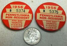 Two 1956 Pa. Non Resident 5 Day Tourists Fishing Licenses / Consecutive Numbers