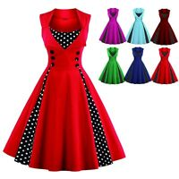 Women's Vintage 50s Swing Polka Dot Pinup Rockabilly Bodycon Evening Party Dress