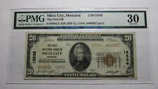 $20 1929 Miles City Montana MT National Currency Bank Note Bill Ch #12536 VF30