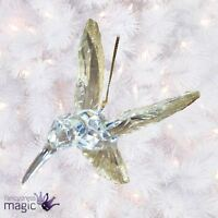 Gisela Graham Clear Gold Glitter Hummingbird Christmas Tree Hanging Decoration