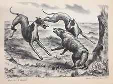 """A Treasury of American Prints, John Steuart Curry """"Hounds and Coyote"""", 9 1/4"""""""