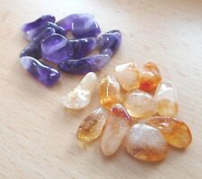 Amethyst Chevron and Citrine Tumblestones - Small 9mm-12mm - 20 Crystals