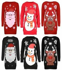 Hip Length Polyester Christmas Jumpers & Cardigans for Women