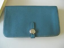 Authentic HERMES Hermès Blue Jean Bifold Duo LEATHER WALLET with coin purse