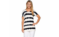 Lisa Rinna Collection Short Sleeve Striped Tie-Dye Knit Top Black XL A292285 J
