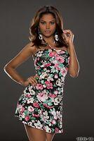 Bandeau Neckholder Minikleid Kleid Partykleid Blumenprint Gr. 34 36  Schwarz