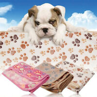 Puppy Pet Dog/Cat Warm Kennel Paw Print Soft Fleece Blanket Cushion Pad Mat