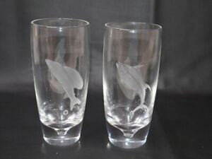 2 FINE OLD STEUBEN ART GLASS deep etch FISH HIGHBALL / TUMBLER GLASSES