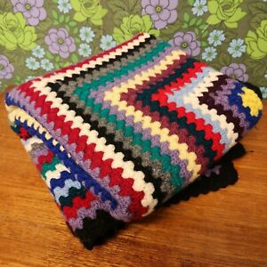 Vintage Stripy Square Knitted Crochet Wool Blanket / Throw