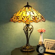 "Tiffany Style Table Lamp Victorian 2-Light with 17.5"" Shade 23"" H Home Decor"