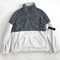 Womens Doe & Rae Gray and White Two Tone Sherpa Half Zip Pullover