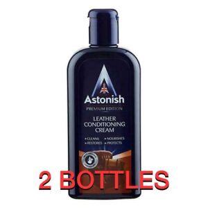 2 X 250ml ASTONISH LEATHER SUITE CLEANER SOFA RESTORER CONDITIONER CREAM POLISH