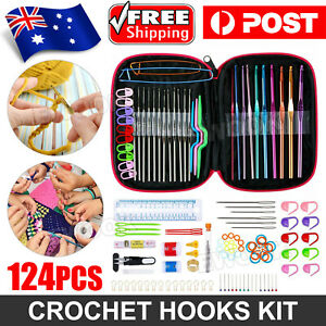 124 pcs Crochet Hooks Set Kit Weave Yarn Knitting Needles Sewing DIY Tools Case