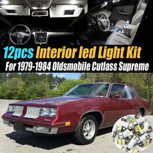 12Pc White Car Interior LED Light Kit for 1979-1984 Oldsmobile Cutlass Supreme
