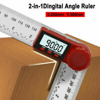 200/300mm LCD Digital 360° Angle Finder Ruler Protractors Gauge Measure Tools