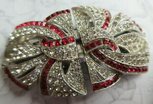 Vintage Art Deco Duette Brooch Silvertone Red & Clear Crystals Dress/Fur Clips