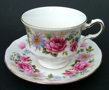 1990's Queen Anne Serenade Red Roses + Pattern 200ml Tea Cups & Saucers in VGC