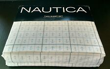 Nautica Blue Anchors~Skippers Plaid~ TWIN Sheet Set-Wrinkle Resistant-NEW