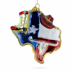 Texas State with Cowboy Hat Glass Christmas Ornament