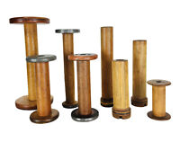 Antique Vintage Lot of 8 Wooden Empty Spindle Bobbin Sewing Yarn Spools
