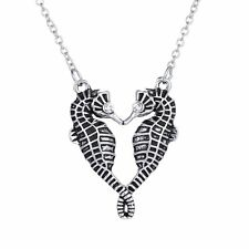 Lovely Women Lady Double Seahorse Crystal Sweater Chain Pendant Necklace Jewelry