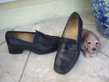 """CLARKS BLACK LEATHER SHOES CLARKS BLACK LEATHER LOAFERS 1.5"""" HEEL ~ 3.5"""