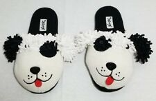 NICK & NORA Black White Puppy Dog Knit Slippers Womens Size S (5-6)