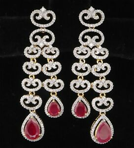Cubic Zirconia Designer Dangle Ruby Yellow Gold Plated Earrings 14 RE 25