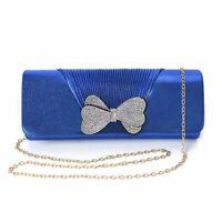 Blue Polyester Clutch Bag Handbag with Detachable Shoulder Strap for Women