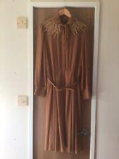 Vintage TEREINO Ginger Tan LACE COLLAR Belted DRESS Size 10/ 12 LANDGIRL