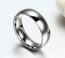 6mm Stainless Steel Ring Men/Women's Wedding Band Silver Gold Blue Size 5-15