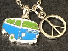 "60's Bus & Peace Sign Charms Tibetan Silver with 18"" Necklace"