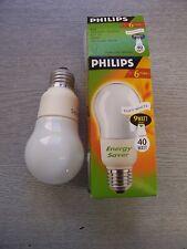 9 Watt Energy Saving Fluorescent Bulb. ES / E27. TWO PACK. Philips.