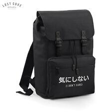 Japanese I Don't Care Slogan Bag Backpack Rucksack Grunge School Retro Vintage