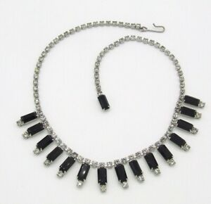 "15.5"" Clear Rhinestone Chain/Black Obsidian Dangle Choker/Necklace~Silver Tone"