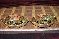 """Two Handmade Pottery Leaf Bowls Handcrafted Clay 6 3/8""""x4"""""""