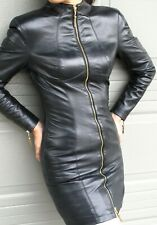 NORTH BEACH  BLACK  LEATHER  DRESS with ZIPPER FRONT  - SIZE 5/6