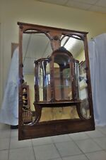 19C Art Nouveau Marjorelle Mirror/Display Matched Cabinets w/ Sienna Marble